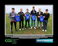 The Heath Golf Club boys With Kate Wright CGI and Brendan Byrne Bank of Ireland.<br /> Junior golfers from across Leinster practicing their skills at the regional finals of the Dubai Duty Free Irish Open Skills Challenge supported by Bank of Ireland at the Heritage Golf Club, Killinard, Co Laois. 2/04/2016.<br /> Picture: Golffile | Fran Caffrey<br /> <br /> <br /> All photo usage must carry mandatory copyright credit (© Golffile | Fran Caffrey)