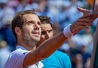 Paris, France, 02 June, 2018, Tennis, French Open, Roland Garros, Richard Gasquet shake the hand of the umpire, in the back Rafael Nadal (ESP)<br /> Photo: Henk Koster/tennisimages.com