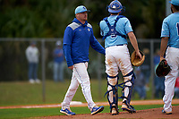 Indiana State Sycamores pitching coach Pascal Paul during a game against the Dartmouth Big Green on February 21, 2020 at North Charlotte Regional Park in Port Charlotte, Florida.  Indiana State defeated Dartmouth 1-0.  (Mike Janes/Four Seam Images)