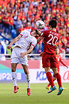Feras Zeyad Shilbaya of Jordan (L) fights for the ball with Phan Van Duc of Vietnam (R) during the AFC Asian Cup UAE 2019 Round of 16 match between Jordan (JOR) and Vietnam (VIE) at Al Maktoum Stadium on 20 January 2019 in Dubai, United Arab Emirates. Photo by Marcio Rodrigo Machado / Power Sport Images
