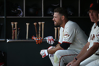 SAN FRANCISCO, CA - JULY 27:  Mac Williamson #51 of the San Francisco Giants sits in the dugout during the game against the Cincinnati Reds at AT&T Park on Wednesday, July 27, 2016 in San Francisco, California. Photo by Brad Mangin