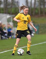 20190403  - Tubize , BELGIUM : Belgian Stephanie Pirotte pictured during the soccer match between the women under 19 teams of Belgium and Switzerland , on the first matchday in group 2 of the UEFA Women Under19 Elite rounds in Tubize , Belgium. Wednesday 3 th April 2019 . PHOTO DIRK VUYLSTEKE / Sportpix.be