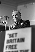 Enoch Powell, Anti-Common Market League, Porchester Hall, Bayswater, London.