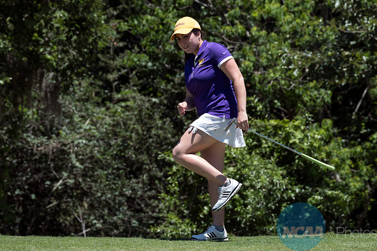 HOUSTON, TX - MAY 12: Phoebe Mattana of Williams College reacts to a missed putt during the Division III Women's Golf Championship held at Bay Oaks Country Club on May 12, 2017 in Houston, Texas. (Photo by Rudy Gonzalez/NCAA Photos/NCAA Photos via Getty Images)