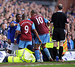 Marlon Harewod of Aston Villa and Victor Anichebe of Everton are kept part by John Carew of Aston Villa during the Premier League match at Goodison Park  Stadium, Liverpool. Picture date 27th April 2008. Picture credit should read: Simon Bellis/Sportimage