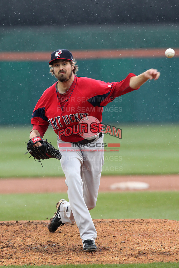 Pawtucket Red Sox pitcher Andrew Miller #11, on major league rehab, during a game against the Buffalo Bisons at Coca-Cola Field on April 15, 2012 in Buffalo, New York.  Buffalo defeated Pawtucket 10-9 in ten innings.  (Mike Janes/Four Seam Images)