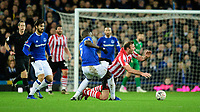 Lincoln City's Matt Rhead is fouled by Everton's Kurt Zouma<br /> <br /> Photographer Chris Vaughan/CameraSport<br /> <br /> Emirates FA Cup Third Round - Everton v Lincoln City - Saturday 5th January 2019 - Goodison Park - Liverpool<br />  <br /> World Copyright &copy; 2019 CameraSport. All rights reserved. 43 Linden Ave. Countesthorpe. Leicester. England. LE8 5PG - Tel: +44 (0) 116 277 4147 - admin@camerasport.com - www.camerasport.com
