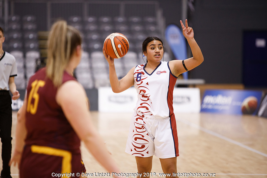 Action from the 2019 Schick Secondary Schools Basketball National Championship A Girls' final between Te Aroha College and Kavanagh College at the Central Energy Trust Arena in Palmerston North, New Zealand on Thursday, 3 October 2019. Photo: Kevin Bills / lintottphoto.co.nz