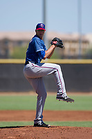 Texas Rangers pitcher Brett Martin (57) delivers a pitch to the plate during an Instructional League game against the San Diego Padres on September 20, 2017 at Peoria Sports Complex in Peoria, Arizona. (Zachary Lucy/Four Seam Images)