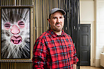 """Zachary Lieberman photographed with his work in Cooper Hewitt's """"Face Values"""" installation at the 2018 London Design Biennale. Photo David Levene"""