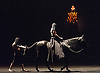 London, UK.13.03.2016. Acclaimed equestrian theatre artist Bartabas returns to the Sadler's Wells stage accompanied by contemporary flamenco dancer Andrés Marín, four horses and a donkey, to present the UK Premiere of Golgota. Photo shows: Bartabas, Andrés Marín. Photo - © Foteini Christofilopoulou.