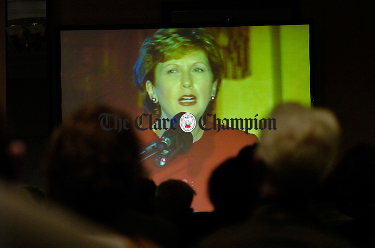 The president Mary Mc Aleese  is seen on the big screen at the Ceifin conference in Ennis. Photograph by John Kelly.