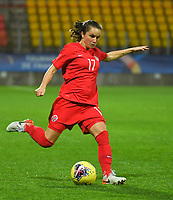 20200310  Calais , France :  Canadian Jessie Fleming (17) pictured during the female football game between the national teams of  Brasil and Canada on the third and last matchday of the Tournoi de France 2020 , a prestigious friendly womensoccer tournament in Northern France , on Tuesday 10 th March 2020 in Calais , France . PHOTO SPORTPIX.BE | DIRK VUYLSTEKE