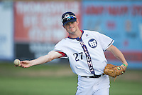 Chayse Gulzow (27) of the High Point-Thomasville HiToms warms up in the outfield prior to the game against the Asheboro Copperheads at Finch Field on June 12, 2015 in Thomasville, North Carolina.  The HiToms defeated the Copperheads 12-3. (Brian Westerholt/Four Seam Images)