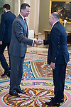 King Felipe VI of Spain and the coach of Real Madrid Pablo Laso  during audience to the champion  of the 80th edition of the cup of your R.M. The King, Real Madrid Basketball at Zarzuela Palace in Madrid. February 25, 2016 (ALTERPHOTOS/BorjaB.Hojas)