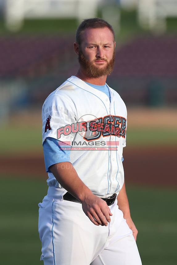 Zachary Wright #5 of the Inland Empire 66ers warms up before a game against the Lancaster JetHawks at San Manuel Stadium on April 23, 2014 in San Bernardino, California. Inland Empire defeated Lancaster, 4-3. (Larry Goren/Four Seam Images)