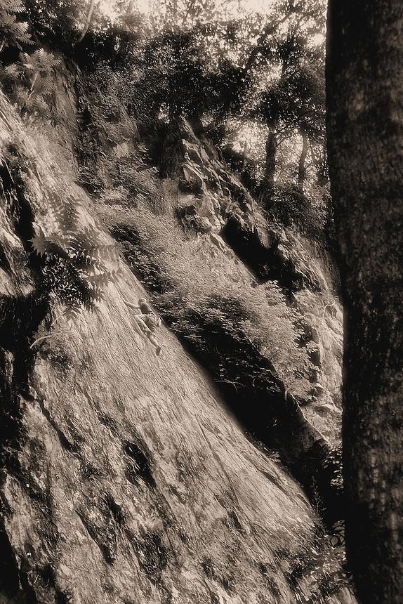 A Climber makes a ascent - B+W