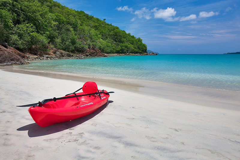 Red canoe at Megan's Bay. St. Thomas. US Virgin Islands.