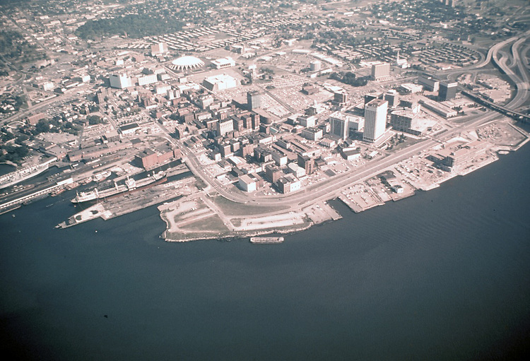 1975 October ..Redevelopment.Downtown South (R-9)..WATERFRONT AERIAL VIEW.LOOKING NORTHEAST...NEG#.NRHA# 4792..