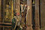 Israel, Jerusalem, Greek Orthodox Patriarch Theophilus III, on the feast of the Exaltation of the Cross, at the Katholikon, the Church of the Holy Sepulchre
