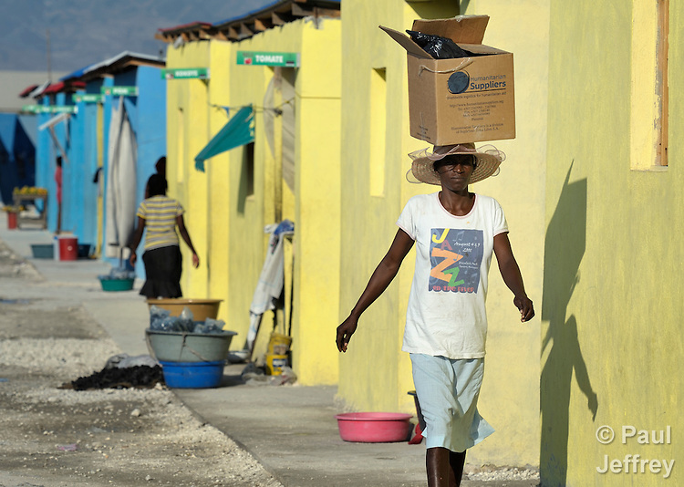 A woman walks along a street in Cite Soleil, a sprawling poor portion of Port-au-Prince, Haiti, in front of new houses for earthquake survivors built by a program sun by an Italian Catholic nun.