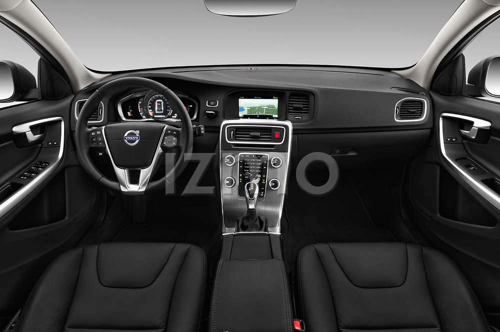 Stock photo of straight dashboard view of 2017 Volvo V60-Cross-Country Summum 5 Door Wagon Dashboard