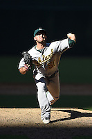Oakland Athletics pitcher Mike Fagan (50) during an Instructional League game against the Arizona Diamondbacks on October 10, 2014 at Chase Field in Phoenix, Arizona.  (Mike Janes/Four Seam Images)