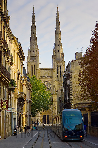 New public transport tram system by St Andre Cathedral, Bordeaux, France