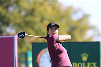 Meghan MacLaren (ENG) tees off the 6th tee during Thursday's Round 1 of The Evian Championship 2018, held at the Evian Resort Golf Club, Evian-les-Bains, France. 13th September 2018.<br /> Picture: Eoin Clarke | Golffile<br /> <br /> <br /> All photos usage must carry mandatory copyright credit (© Golffile | Eoin Clarke)