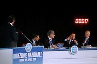 al Presidente del Consiglio Silvio Berlusconi, secondo da destra, affiancato dai coordinatori nazionali Ignazio La Russa, secondo da sinistra, Denis Verdini, al centro, e Sandro Bondi, replica al Presidente della Camera dei Deputati Gianfranco Fini, a sinistra, durante la Direzione Nazionale del Popolo della Liberta' (PdL), a Roma, 22 aprile 2010,.Italian Premier Silvio Berlusconi, second from right, flanked by party's coordinators Ignazio La Russa, second from left, Denis Verdini, center, and Sandro Bondi, replies to Lower Chamber speaker Gianfranco Fini, left, as he speaks during the National Direction of the People of Freedom (PdL) center-right party in Rome, 22 april 2010..UPDATE IMAGES PRESS/Riccardo De Luca