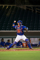 AZL Cubs catcher Kevin Zamudio (4) warms up with a throw to second base during a game against the AZL Brewers on August 6, 2017 at Sloan Park in Mesa, Arizona. AZL Cubs defeated the AZL Brewers 8-7. (Zachary Lucy/Four Seam Images)