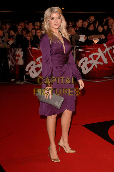 "HOLLY WILLOUGHBY.Arriving at the 2007 ""Brit Awards"" at Earls Court, London, England, 14th February 2007..full length purple dress.CAP/FIN.©Steve Finn/Capital Pictures."