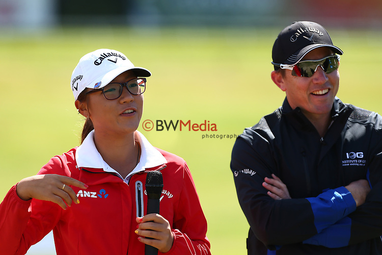 Lydia Ko and Guy Wilson. Lydia Ko Media Day, Golf Warehouse, Ellerslie, Auckland. Saturday 29th November 2014. Photo: Simon Watts/www.bwmedia.co.nz <br /> All images &copy; NZ Golf and BWMedia.co.nz