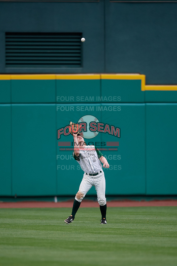 Fort Wayne TinCaps center fielder Jack Suwinski (2) settles under a fly ball during a game against the Wisconsin Timber Rattlers on May 10, 2017 at Parkview Field in Fort Wayne, Indiana.  Fort Wayne defeated Wisconsin 3-2.  (Mike Janes/Four Seam Images)