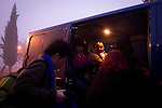 Relatives of Basque prisoners comming out from the van, outside Herrera de la Mancha prison where they have gone to visit their loved ones after having driven more than 600 Km. Manzanares (Sapin). January 19, 2008. Basque prisoners are dispersed on Spanish and French prisons. Usually their relatives travel together using vans driven by volunteers who they call themselves 'Mirentxin' (something similar to 'little Mari'). (Bostok Photo/Gari Garaialde)