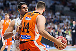 Real Madrid's player Gustavo Ayon and Valencia Basket's Dubljevic during the first match of the Semi Finals of Liga Endesa Playoff at Barclaycard Center in Madrid. June 02. 2016. (ALTERPHOTOS/Borja B.Hojas)