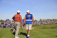 Francesco Molinari (Team Europe) and caddy Pello on the 11th tee during Saturday's Foursomes Matches at the 2018 Ryder Cup 2018, Le Golf National, Ile-de-France, France. 29/09/2018.<br /> Picture Eoin Clarke / Golffile.ie<br /> <br /> All photo usage must carry mandatory copyright credit (© Golffile | Eoin Clarke)