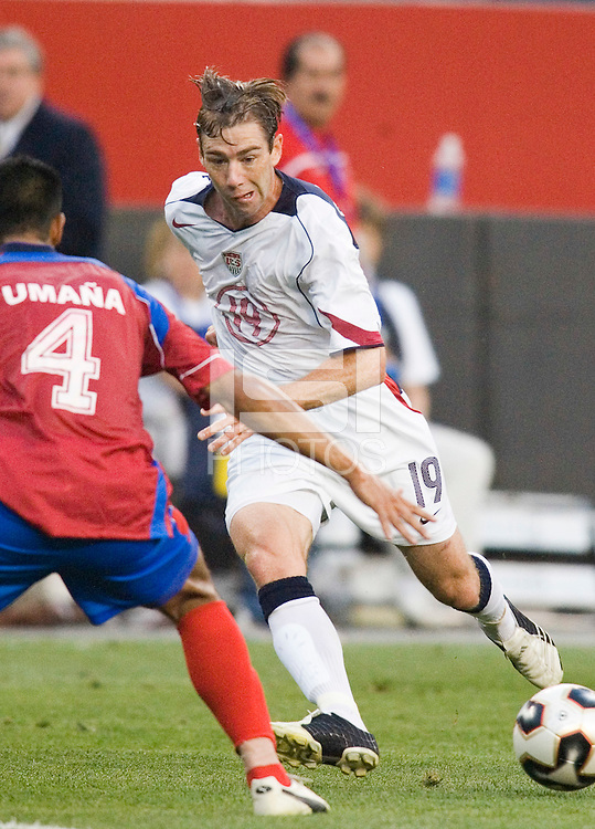 USA's Steve Ralston passes the ball past Costa Rica's Michael Umana. The United States and Costa Rica played to a scoreless tie in phase one CONCACAF Gold Cup action in Group B at Gillette Stadium, Foxbourgh, MA, on July 12, 2005. Both teams have already qualified for the quarterfinals on July 16th.