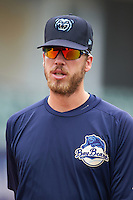 Mobile BayBears pitcher Patrick Schuster (10) during practice before a game against the Mississippi Braves on April 28, 2015 at Hank Aaron Stadium in Mobile, Alabama.  The game was suspended after the top of the second inning with Mobile leading 3-0, the BayBears went on to defeat the Braves 6-1 the following day.  (Mike Janes/Four Seam Images)