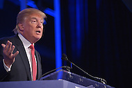 Washington, DC - September 25, 2015: Presidential candidate and businessman Donald Trump addresses attendees of the Values Voter Summit at the Omni Shoreham Hotel in the District of Columbia, September 25, 2015.  (Photo by Don Baxter/Media Images International)