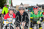 Mary Clancy, Liam Cox both Listowel and Tommy Commane Lixnaw hit the road early at the start of the Ring of Kerry cycle in Killarney on Saturday morning