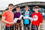 TOP MARKS: It was top marks for Diarmuid Moriarty who received 595 points, Kevin McCarthy who got 605, Sean Dowling who received 605 points and Murrough Connolly who got 595 when they opened their results in Mercy Mounthawk on Wednesday morning.