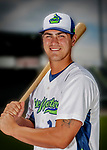 13 June 2018: Vermont Lake Monsters first baseman Aaron Arruda poses for a portrait on Photo Day at Centennial Field in Burlington, Vermont. The Lake Monsters are the Single-A minor league affiliate of the Oakland Athletics, and play a short season in the NY Penn League Stedler Division. Mandatory Credit: Ed Wolfstein Photo *** RAW (NEF) Image File Available ***