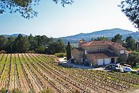 View over the vineyard in spring, vines in Cordon Royat training, the main building. Grenache and Mourvedre Domaine de la Tour du Bon Le Castellet Bandol Var Cote d'Azur France