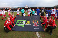 Kick It Out banner during Stevenage vs Crewe Alexandra, Sky Bet EFL League 2 Football at the Lamex Stadium on 10th March 2018