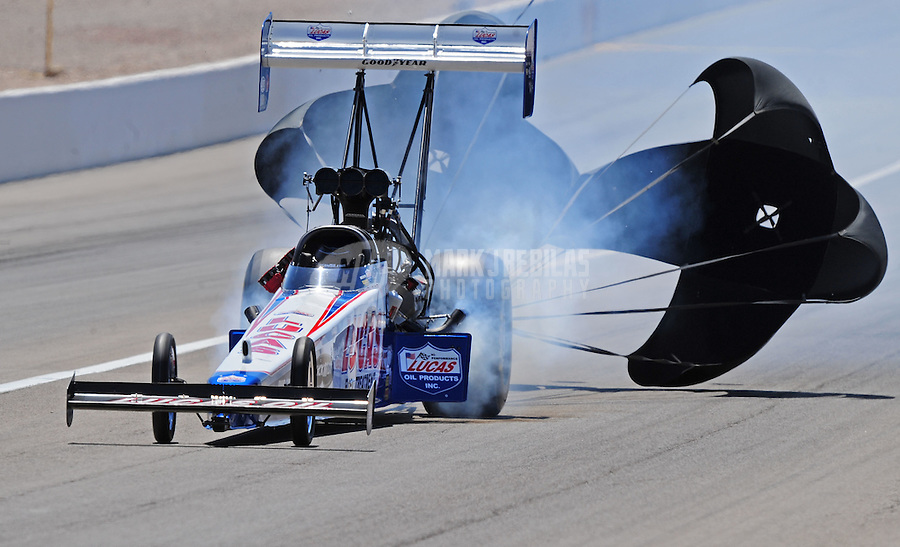 Apr. 5, 2009; Las Vegas, NV, USA: NHRA top fuel dragster driver Shawn Langdon during eliminations of the Summitracing.com Nationals at The Strip in Las Vegas. Mandatory Credit: Mark J. Rebilas-