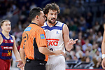 Real Madrid's Sergio Llull talking with the referee during Liga Endesa match between Real Madrid and FC Barcelona Lassa at Wizink Center in Madrid, Spain. March 12, 2017. (ALTERPHOTOS/BorjaB.Hojas)