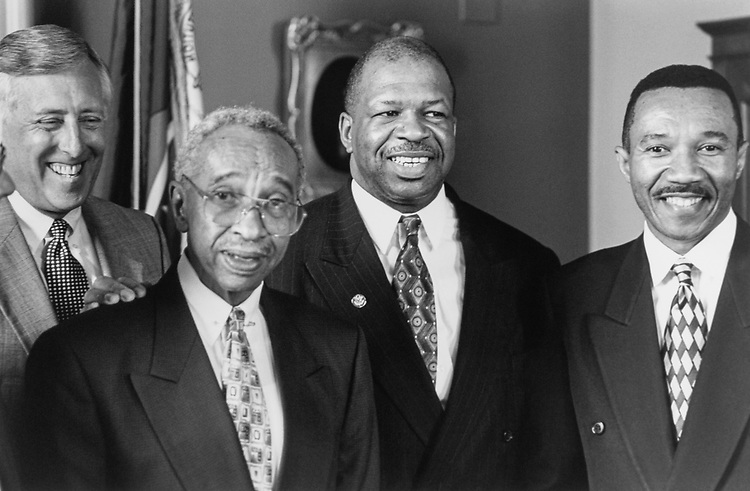 Rep. Steny Hoyer, D-Md., Former Rep. Parren Mitchel, D-Md., Rep. Elijah Cummings, D-Md. and Rep. Kweisi Mfume, D-Md. pose for photos on April 29, 1996. (Photo by Laura Patterson/CQ Roll Call)