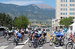 August 10, 2017 - Colorado Springs, Colorado, U.S. -  The women's peloton leaves the city toward the Garden of the Gods with Pikes Peak in the background during the inaugural Colorado Classic cycling race, Colorado Springs, Colorado.