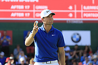 Lucas Bjerregaard (DEN) finishes on the 18th green during Sunday's Final Round 4 of the 2018 Omega European Masters, held at the Golf Club Crans-Sur-Sierre, Crans Montana, Switzerland. 9th September 2018.<br /> Picture: Eoin Clarke | Golffile<br /> <br /> <br /> All photos usage must carry mandatory copyright credit (© Golffile | Eoin Clarke)